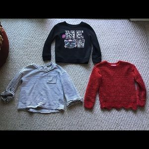 Girls tee, sweater sweatshirt bundle